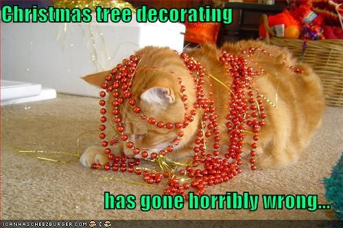 Christmas tree decorating  has gone horribly wrong...