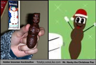 Melster Snowman Marshmallow Totally Looks Like Mr. Hanky the Christmas Poo