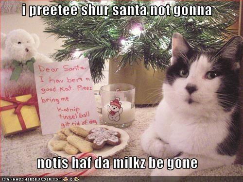i preetee shur santa not gonna  notis haf da milkz be gone
