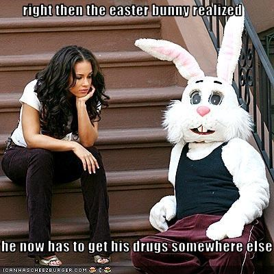 right then the easter bunny realized  he now has to get his drugs somewhere else