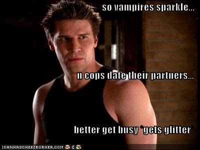 so vampires sparkle... n cops date their partners... better get busy *gets glitter*