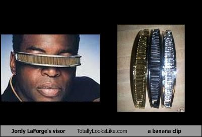 Jordy LaForge's visor Totally Looks Like a banana clip