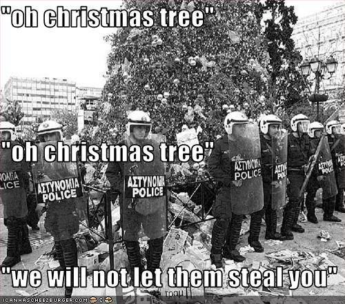 christmas,police,protection,riot gear,tree