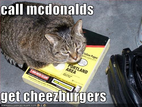 call mcdonalds  get cheezburgers