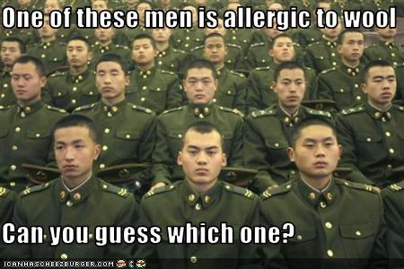 One of these men is allergic to wool  Can you guess which one?