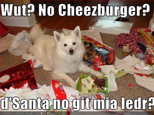 Wut? No Cheezburger?  d'Santa no git mia ledr?