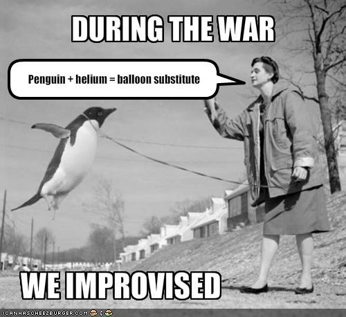 Penguin   helium = balloon substitute