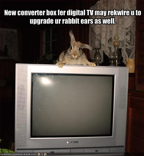 New converter box fer digital TV may rekwire u to upgrade ur rabbit ears as well.