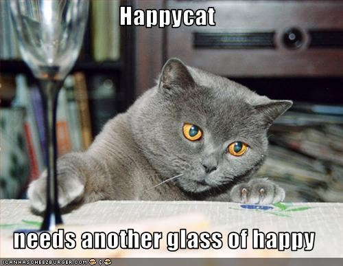 Happycat  needs another glass of happy