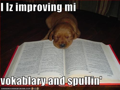I Iz improving mi   vokablary and spullin'