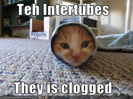 Teh Intertubes  They is clogged