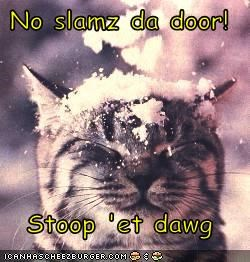 No slamz da door!  Stoop 'et dawg