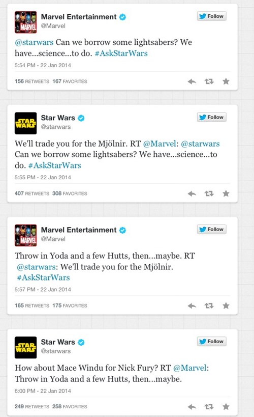 Marvel and Star Wars Had the Best Twitter Exchange of the Month So Far (Far Away)