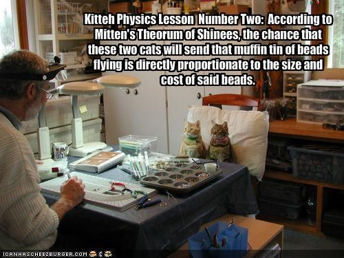 Kitteh Physics Lesson  Number Two:  According to Mitten's Theorum of Shinees, the chance that these two cats will send that muffin tin of beads flying is directly proportionate to the size and cost of said beads.