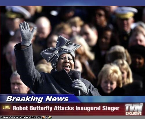 Breaking News - Robot Butterfly Attacks Inaugural Singer
