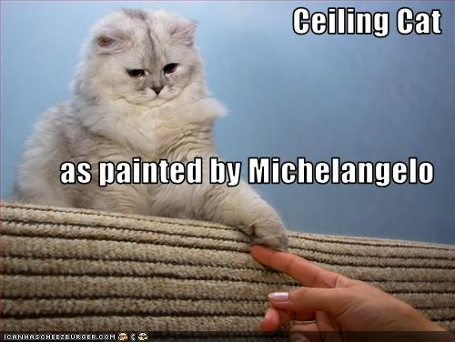 Ceiling Cat as painted by Michelangelo