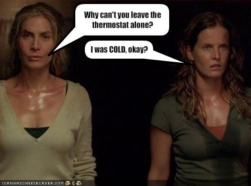 cold,elizabeth mitchell,lost,rebecca mader,sexy,sweat,thermostat