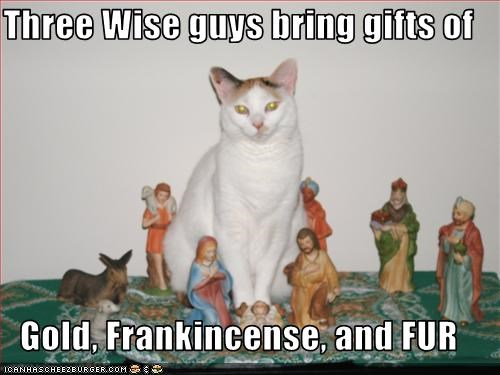 Three Wise guys bring gifts of  Gold, Frankincense, and FUR
