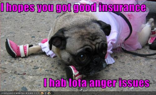 I hopes you got good insurance  I hab lota anger issues