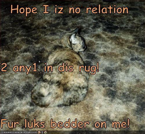 Hope I iz no relation 2 any1 in dis rug! Fur luks bedder on me!