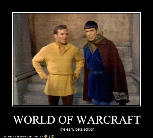 Captain Kirk,Leonard Nimoy,sci fi,Spock,Star Trek,William Shatner,world of warcraft