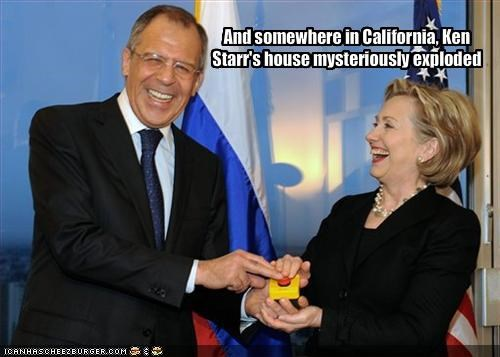 And somewhere in California, Ken Starr's house mysteriously exploded