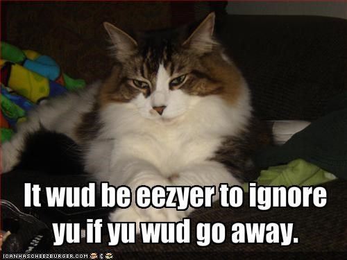 It wud be eezyer to ignore yu if yu wud go away.