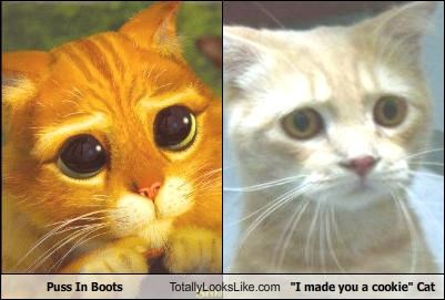 "Puss In Boots Totally Looks Like ""I made you a cookie"" Cat"