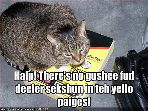 Halp! There's no gushee fud deeler sekshun in teh yello paiges!
