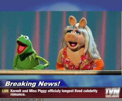 Breaking News! - Kermit and Miss Piggy officialy longest lived celebrity romance.