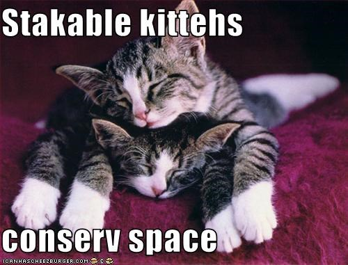 Stakable kittehs  conserv space