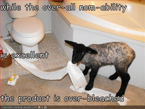 while the over-all nom-ability is excellent the product is over-bleached