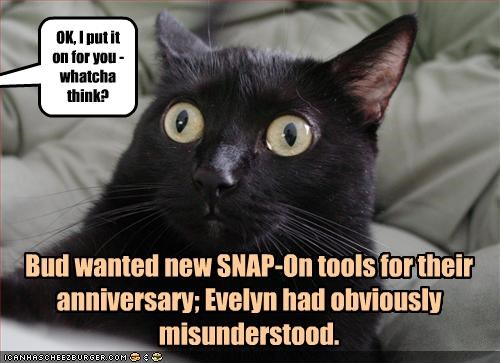 Bud wanted new SNAP-On tools for their anniversary; Evelyn had obviously misunderstood.