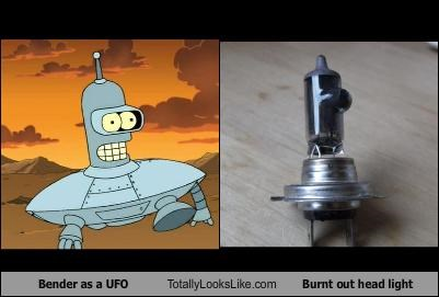 Bender as a UFO Totally Looks Like Burnt out head light