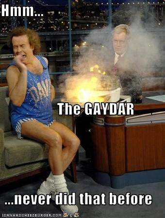 Hmm...            The GAYDAR ...never did that before
