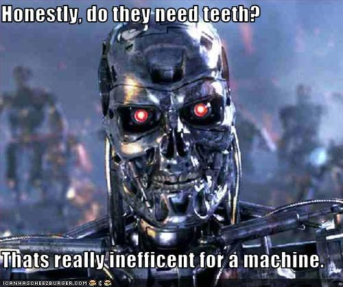 Honestly, do they need teeth?  Thats really inefficent for a machine.
