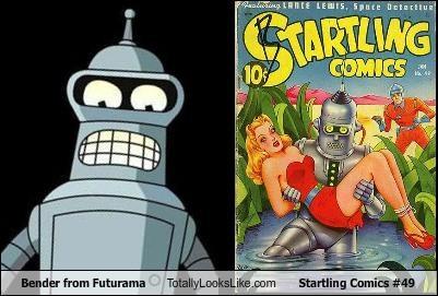 Bender from Futurama Totally Looks Like Startling Comics #49