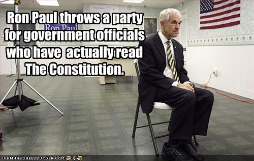 Ron Paul throws a party for government officials who have  actually read The Constitution.
