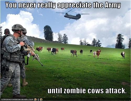 You never really appreciate the Army  until zombie cows attack.