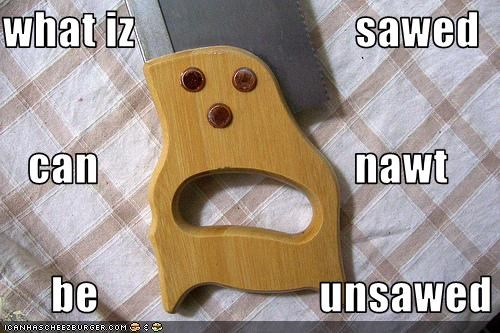 what iz                         sawed can                             nawt          be                         unsawed