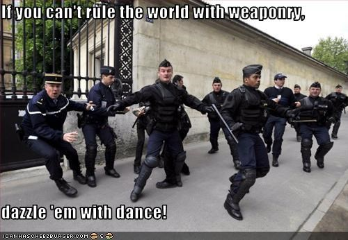 If you can't rule the world with weaponry,  dazzle 'em with dance!