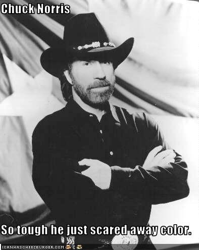 Chuck Norris  So tough he just scared away color.