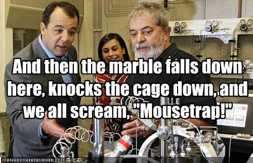 "And then the marble falls down here, knocks the cage down, and we all scream, ""Mousetrap!"""