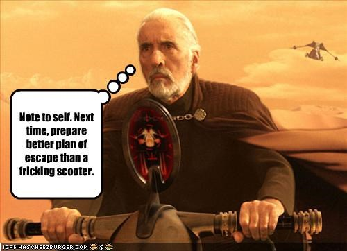 Christopher Lee,count dooku,escape,scooter,star wars