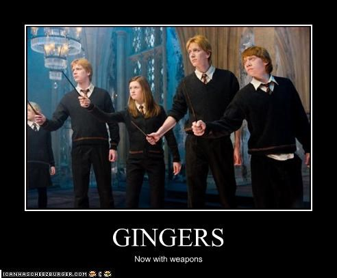 bonnie wright,gingers,Harry Potter,james phelps,movies,oliver phelps,rupert grint,sci fi,weapons
