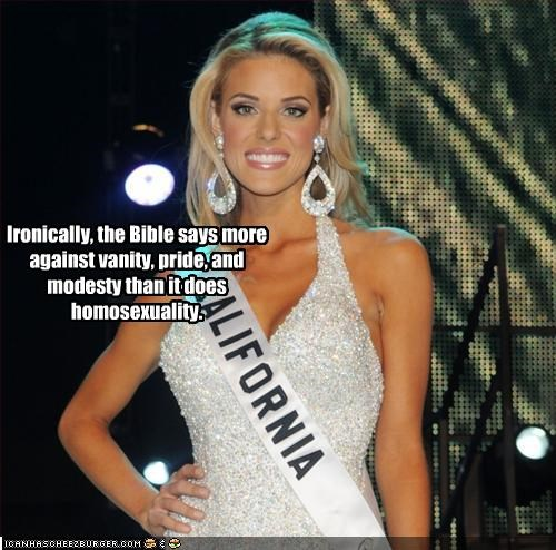 Carrie Prejean,homosexual,Hypocrisy,irony,miss california,the bible