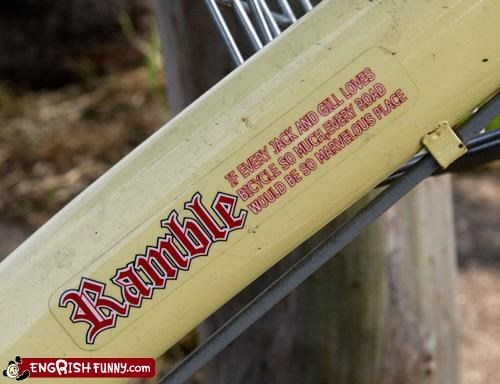 bicycle,g rated,label,love,place,ramble,road,sticker