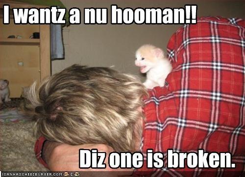 I wantz a nu hooman!!