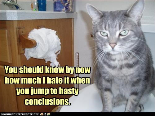 You should know by now how much I hate it when you jump to hasty conclusions.