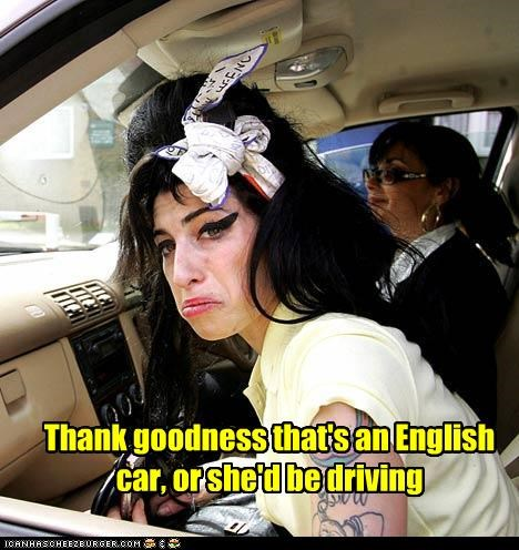 Thank goodness that's an English car, or she'd be driving